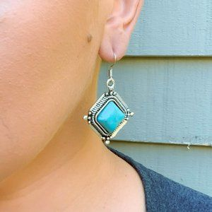 Marie And Me Co Western Turquoise Square Earrings